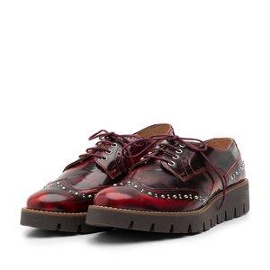Pantofi casual dama din piele naturala, Leofex - 096 Visiniu Florantic