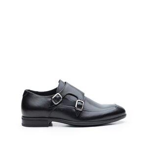 Pantofi eleganti barbati, cu catarame din piele naturala, Leofex - 576-1 Negru Box