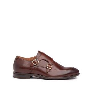 Pantofi eleganti barbati, cu catarame din piele naturala, Leofex - 576-1 Red wood box