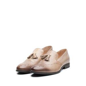 Pantofi eleganti barbati din piele naturala cu ciucuri, Leofex - 899 Taupe Box