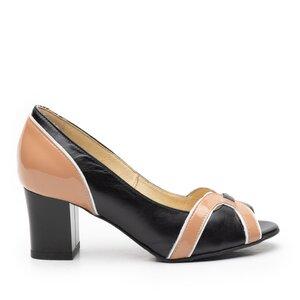 Pantofi eleganti dama din piele naturala - 055-1-maro-lac