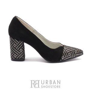 Pantofi eleganti dama din piele naturala - 1997 Negru Mozaic Velur