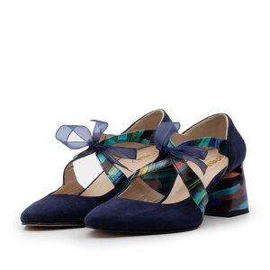Pantofi eleganti dama din piele naturala - 21100 Blue box+velur