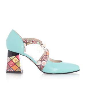 Pantofi eleganti dama din piele naturala - 21100 Turcoaz Box