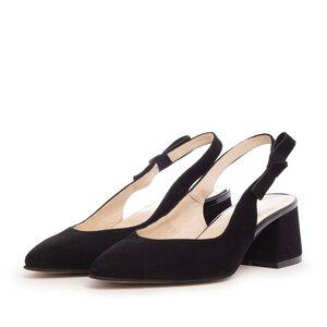 Pantofi eleganti dama din piele naturala - 626-3 Negru Velur