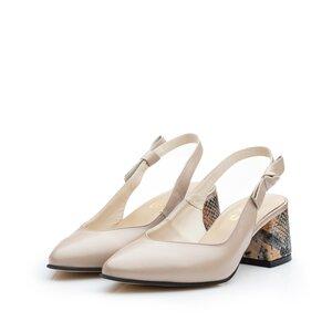 Pantofi eleganti dama din piele naturala - 626-3 Nude Metalizat