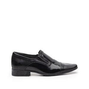 Pantofi eleganti din piele naturala cu varf patrat, Leofex - 604-2 negru lac+box