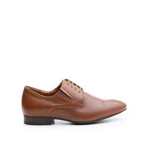 Pantofi eleganti din piele naturala, Leofex - 779-1 Cognac Box