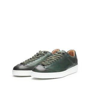 Pantofi sport barbati din piele naturala cu siret pana in varf, Leofex - Mostra 517-1 Verde Box