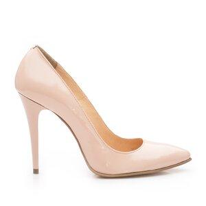 Pantofi stiletto dama din piele lacuita  - 707 nude