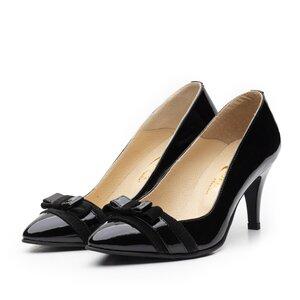 Pantofi stiletto dama din piele naturala - 713 negru lac+velur