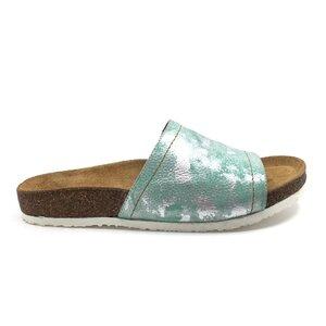Papuci dama din  piele naturala, Leofex - 235 Verde box sidefat