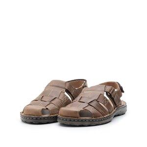 Sandale barbati din piele naturala, Leofex- 141 cognac inchis box