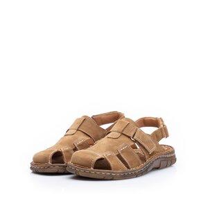 Sandale barbati din piele naturala Leofex - 324 Camel nabuc