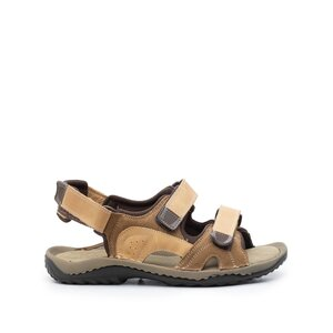 Sandale barbati din piele naturala,Leofex - 633 camel nabuc velur