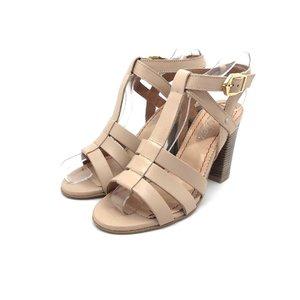 Sandale cu toc dama din piele naturala, Leofex - 035 bej deschis