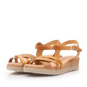 Sandale cu platforma dama din piele naturala - 97704 Camel box