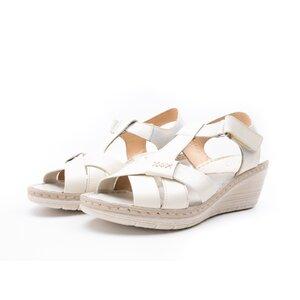 Sandale cu platforma dama din piele naturala,Leofex-214 Bej Box