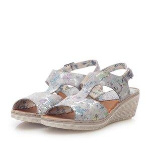 Sandale cu platforma dama din piele naturala, Leofex - 218 Azur flori box