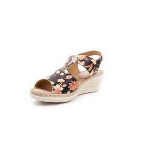 Sandale cu platforma dama din piele naturala, Leofex - 218 Flori box