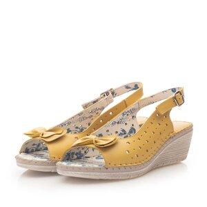 Sandale cu platforma dama, perforate din piele naturala, Leofex - 259 Galben box
