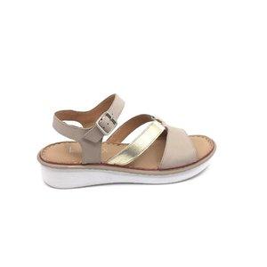 Sandale cu talpa joasa dama din piele naturala Leofex - 159 Bej cu Auriu