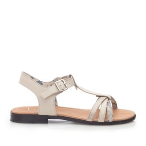 Sandale cu talpa joasa dama din piele naturala,Leofex - 209 Bej box