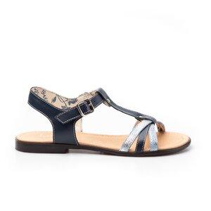 Sandale cu talpa joasa dama din piele naturala,Leofex-209 Blue Box