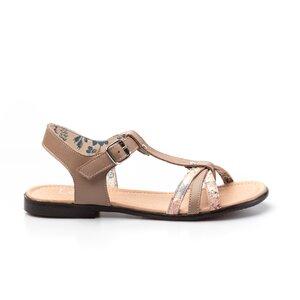 Sandale cu talpa joasa dama din piele naturala,Leofex - 209 Taupe Box