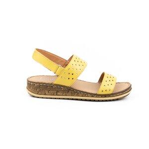 Sandale cu talpa joasa dama din piele naturala, Leofex - 212 Galben box