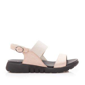 Sandale cu talpa joasa dama din piele naturala,Leofex - 256 Nude metalizat box