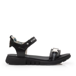 Sandale cu talpa joasa dama din piele naturala,Leofex - 257 Negru Box