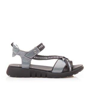 Sandale cu talpa joasa dama din piele naturala,Leofex - 258 Azur metalizat