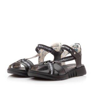 Sandale cu talpa joasa dama din piele naturala,Leofex - 258 Negru Box