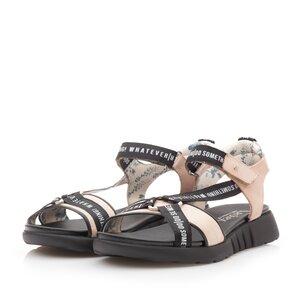 Sandale cu talpa joasa dama din piele naturala,Leofex - 258 Nude metalizat