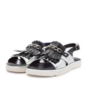 Sandale cu talpa joasa dama din piele naturala, Leofex - Mostra Clara argintiu+negru box