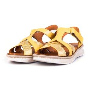 Sandale cu talpa joasa din piele naturala Leofex- 216 Galben