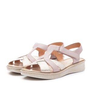 Sandale cu talpa joasa din piele naturala Leofex- 216 Nude box sidef