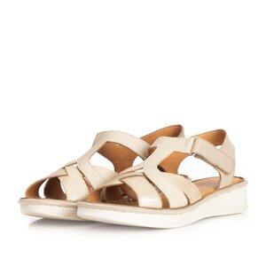 Sandale cu talpa joasa din piele naturala ,Leofex- 216 Taupe cu Bej Serigrafiat