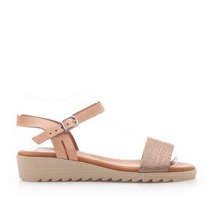 Sandale cu talpa joasa din piele naturala,Leofex - 2220 Bej Auriu Box