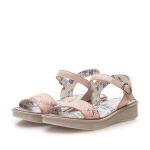 Sandale cu talpa joasa din piele naturala,Leofex - 260 Nude box floral