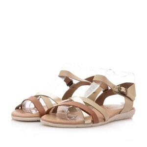 Sandale cu talpa joasa din piele naturala,Leofex - 9241 bej+auriu box