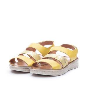 Sandale cu talpa joasa din piele naturala,Leofex - Mostra Geanina galben