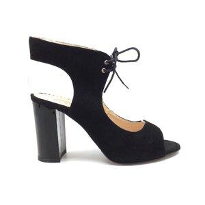 Sandale cu toc dama din piele naturala - 1061-6 Negru velur