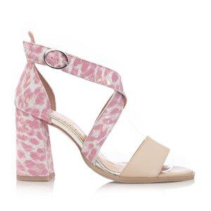 Sandale cu toc dama din piele naturala, Leofex - 139 Crem roz box