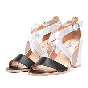 Sandale cu toc dama din piele naturala, Leofex - 139 Negru Argintiu Box