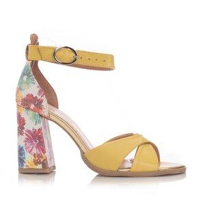 Sandale cu toc dama din piele naturala Leofex- 148 Galben Box Flori