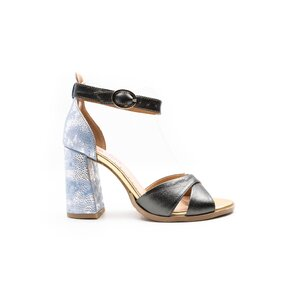 Sandale cu toc dama din piele naturala Leofex- 148 Gri cu  Blue Box Sidefat