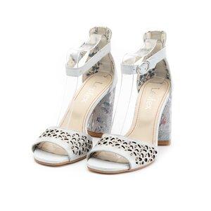 Sandale cu toc dama perforate din piele naturala, Leofex - 251 argintiu metalizat