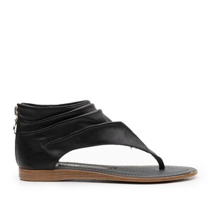 Sandale dama cu talpa joasa din piele naturala,leofex - 300 Negru Box
